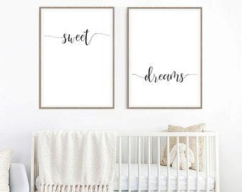 Sweet Dreams, Above Bed Printable, 2 Digital Prints, Scandinavian Nursery, Minimalist Poster, Gender Neutral, Poster Sign, Nursery Printable