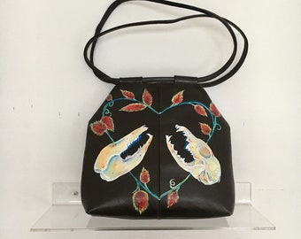 Hand Painted Possum Skull Handbag