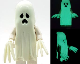 Keychain Glow in the Dark Ghost Minifigure with Glow in the Dark Claws, Made From LEGO Parts