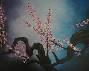 "Painting acrylic Asian branch of cherry blossoms ""Sakura"""