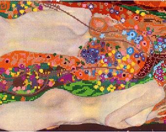 Gustav Klimt Water Serpents Snakes DIY bead embroidery kit beading on needlepoint set room wall decor housewarming gift idea