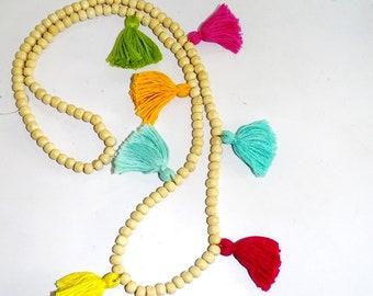 SALE! Boho Multi Tassel Wooden Off White Beaded Long Necklace / Yoga Necklace / Tassel Necklace / Boho Necklace / Spiritual Necklace