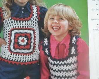 1970's childrens crocheted tank top pattern, original not pdf, emu pattern 6491,
