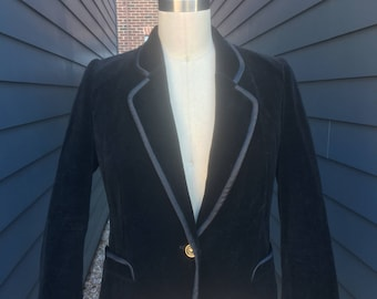 Louis Feraud Paris Velvet Jacket // Garfinkel's Velvet Jacket // Velvet Jacket with Enamel Buttons // Black Velvet Jacket