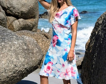 Summer dress with ruffles in floral crepe chiffon in blue-white-coral, chiffon dress with floral print, silk dress with valances, midi dress