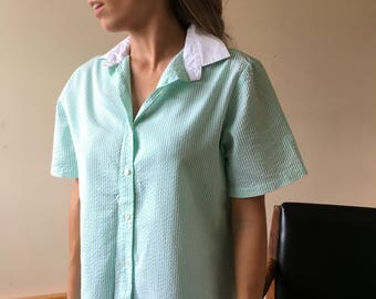 Vintage White and Green Striped Blouse