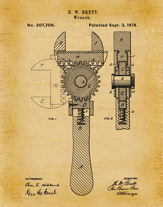 Patent 1878 Wrench - Crescent Wrench Art Print - Mechanics Wall Art ...