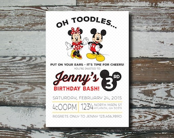 Mickey/Minnie Birthday Invitation - Printable