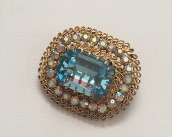 Gold Brooch with Aquamarine Stone and Crystals, Aquamarine Brooch, Crystal Brooch