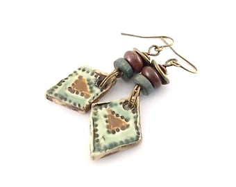 Handmade Green and Brown Earrings, Ceramic Earrings, Artisan Earrings, Boho Earrings, Antique Brass Earrings, Brass Earrings, AE122
