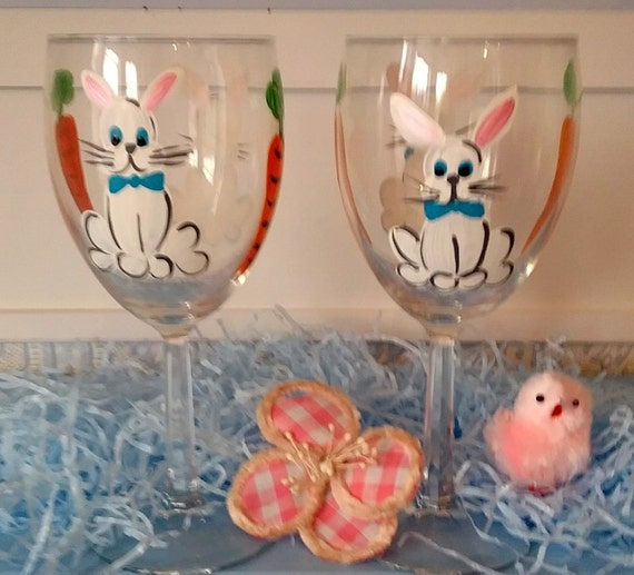hand painted easter bunny wine glasses with carrots spring. Black Bedroom Furniture Sets. Home Design Ideas
