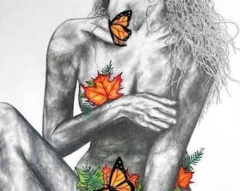 art, fine art, graphite, colored pencil, illustration, drawing, girl, female, body, leaves, butterflies, hair