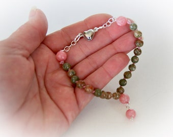 Gemstone Knotted Bracelet. Pink Jasper and Pink Jade. Boho Chic Jewelry