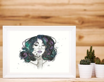 Cosmic Curls Print