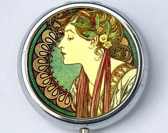 Art Nouveau goddess green PILL CASE pillbox pill holder Girl mucha