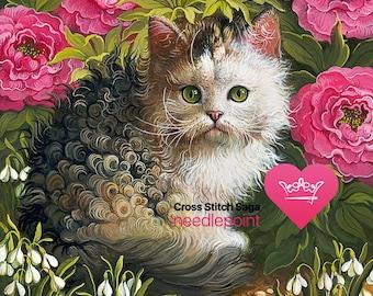 Kitty cat cross stitch pattern - Flower cross stitch chart - Cross stitch animal - Cute cross stitch design - Printable PDF - Download