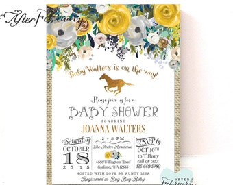 Horse baby shower etsy yellow and gray gender neutral horse baby shower invitation rustic burlap horseback riding baby shower invite filmwisefo Gallery