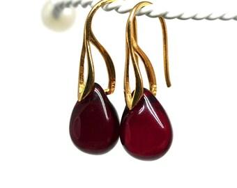 Red drop earrings Dark red gold earrings Red jewelry Glass briolette teardrop dangle women earrings by MayaHoney