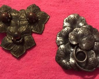 Floral clips, dress clip, fur clip, Antique clips, Antique pins, 1930s, Jewelry, wedding, estate, Vintage, Antique, old, brooch