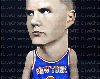 Kristaps Porzingis, New York Knicks Photo print from an original painting