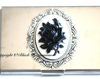 Black Rose Stainless Business Card Case - Black White Rose Flower Cameo -  Insurance Included
