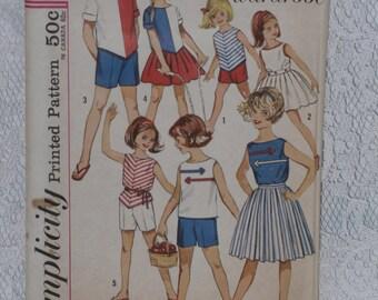 Simplicity 4457 Pattern Girls' Blouse, Top, Skirt & Shorts Separates Uncut Size 8 Vintage