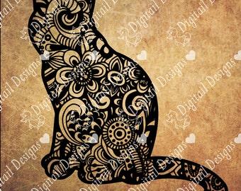Zentangle Cat SVG, dxf, fcm, eps, ai, png cut file for Silhouette, Cricut, Scan N Cut. Doodle Cat SVG Cat cut file