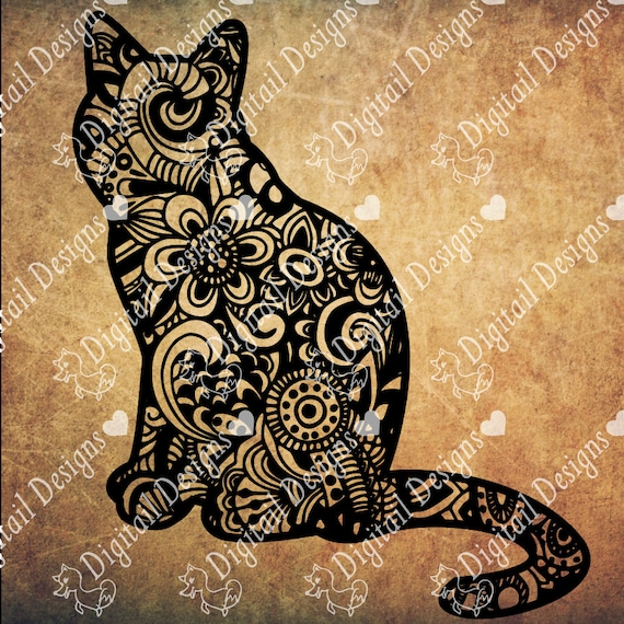 Zentangle Cat Svg Dxf Fcm Eps Ai Png Cut File For