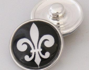 1 PC 18MM Glass Dome Fleur De Lis Black White Silver Snap Candy Charm KB2511-ah Cc1451