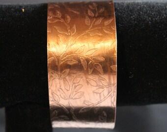 Etched Copper Cuff Bracelet (022017-041)