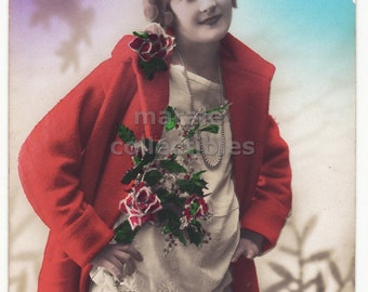 Beautiful Woman with Orange Coat, Antique New Year Greetings color vintage real photo postcard, France ca 1920s