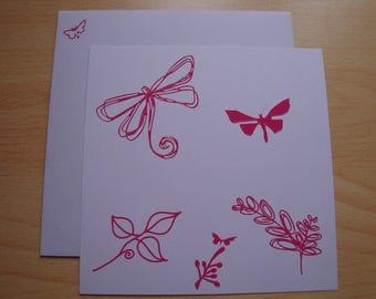 Square card purple fuschia stickers