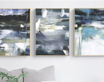 Set of 3  Gray Blue Color Block Graffiti Abstract Print  Living Room Decor, Nordic Painting Wall Pictures