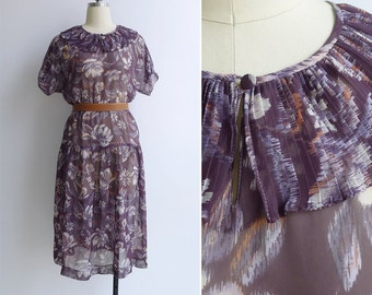 Vintage 80's Clown Collar Pleated Sheer Ikat Floral Purple Dress S