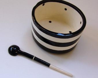 whimsical pottery Sugar Bowl w/ handmade ceramic spoon Black & White stripe, salt dish, condiment dish