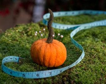 Pumpkin Pincushion needle felted handmade wool #005
