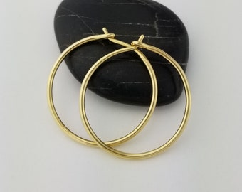 Extra Thick 18k Gold Hoop Earrings, 16 Gauge, Solid Gold Hoop Earrings, Anniversary Gift Wife Jewelry, Mom Gift, Mothers Day, Thick Round