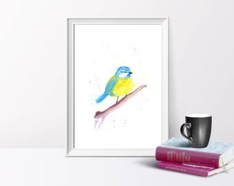 Blue-tit, Bird, Watercolour Illustration, A4/A5  Print