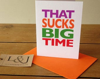 That sucks card for cancer, cancer sucks card, bad news card for bff, break up card for friends, condolence cards