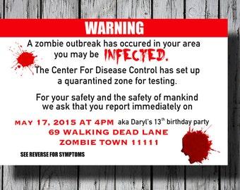Set of 12+ Zombie Party Invitation, Walking Dead Invitation, C009