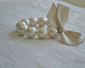 Lillian: Large Ivory Pearl Bracelet with Champagne Satin Ribbon Bow - Bridal, Bridesmaids, or Flower Girl