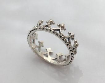 Sterling Silver Megan Crown Stacking Ring
