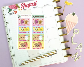 8 Date Night Mini Stickers / Planner Stickers