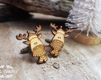 Reindeer Wooden Cufflinks Rudolph Scarf Christmas Festive Celebration Dad Grooms Best man Groomsman Rustic Wedding Birthday Gift Cuff links