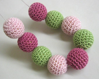 Crocheted beads 22mm 9pc handmade round in green, pink
