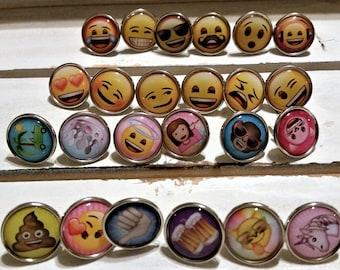 24 Emoticon split pins - metal emoticon split pins/brads - card making/diy craft/scrapbooking - office/school accessories - craft supplies
