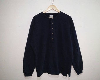 Rare !! Vintage Benetton 90s Crewneck by United Colors Half Button Sweatshirt // Long Sleeve shirt Blue Color Medium Size made in Italy #A0
