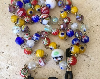 Murano Glass, Vintage EyeGlass Holder Necklace. Hand Blown Venetian Glass in Gorgeous Colors