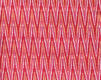 By The HALF YARD - Fire Colored Chevron, Pink, Orange, White and Red Zig Zag 100% Decorator Weight Fabric