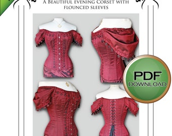 """Digital Download Corset Paper Pattern. Tight lacing steel corset, steampunk, Gothic, Wedding, High Neckline, size large 32""""-34""""-36"""" waists"""